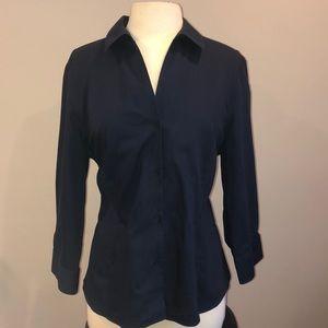 Blue Anne Klein Button Down Blouse Sz XL
